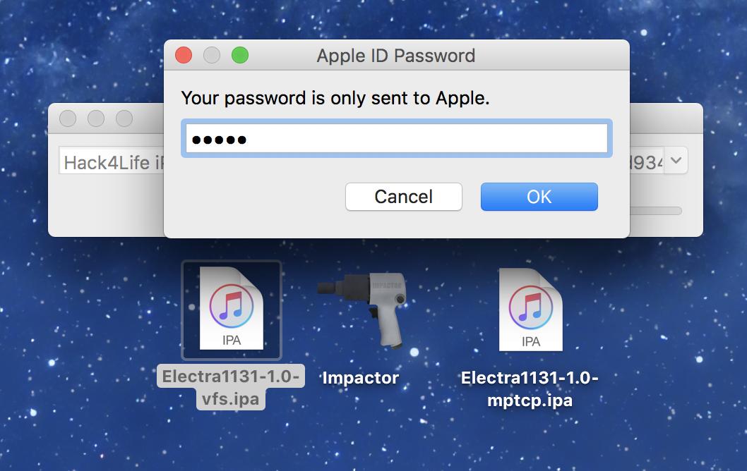 AppleID Passwort in Cydia Impactor eingeben, Electra iOS 11.3.1 Jailbreak Anleitung von Hack4Life