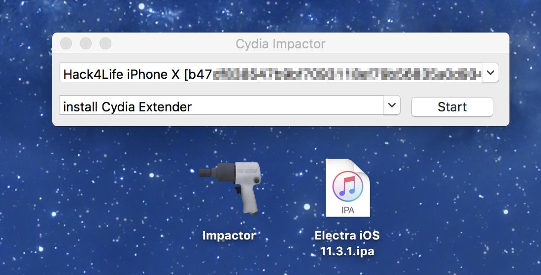 iPhone X mit Cydia Impactor verbunden für iOS 11.3.1 Electra Jailbreak