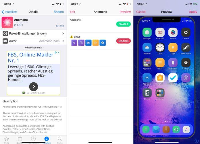 Anemone - Der Theme Manager unter iOS 11, Cydia, Tweak, kostenlos, Anemone 3.0, Download, .deb, Cydia, Sileo, Entwickler, Hack4Life, Fabian Geissler