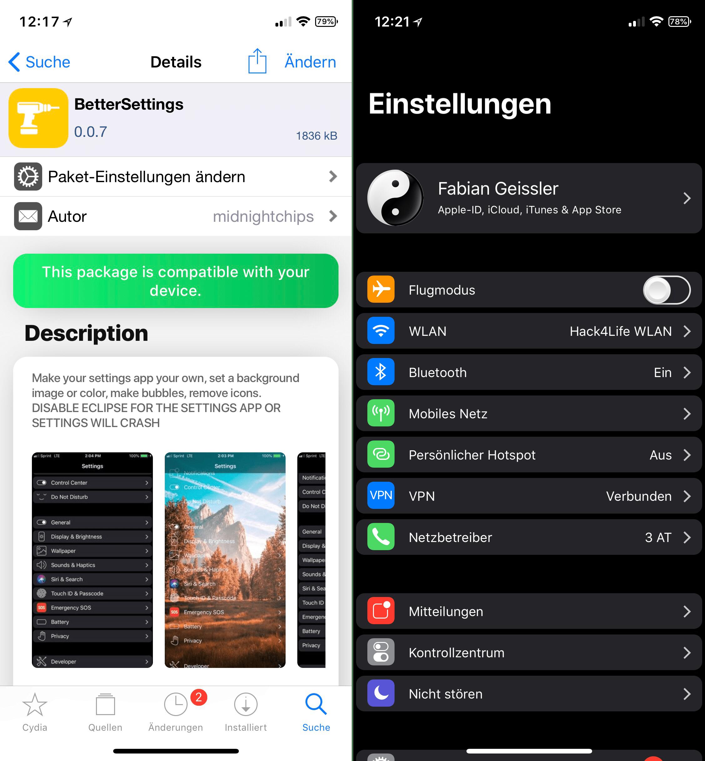 Neuer Look für die Einstellungen, BetterSettings, iOS 11, Top, Cydia, Tweak, Review, Anleitung, free, kostenlos, download, Hack4Life, Fabian Geissler, Hintergrundbild für die Einstellungen