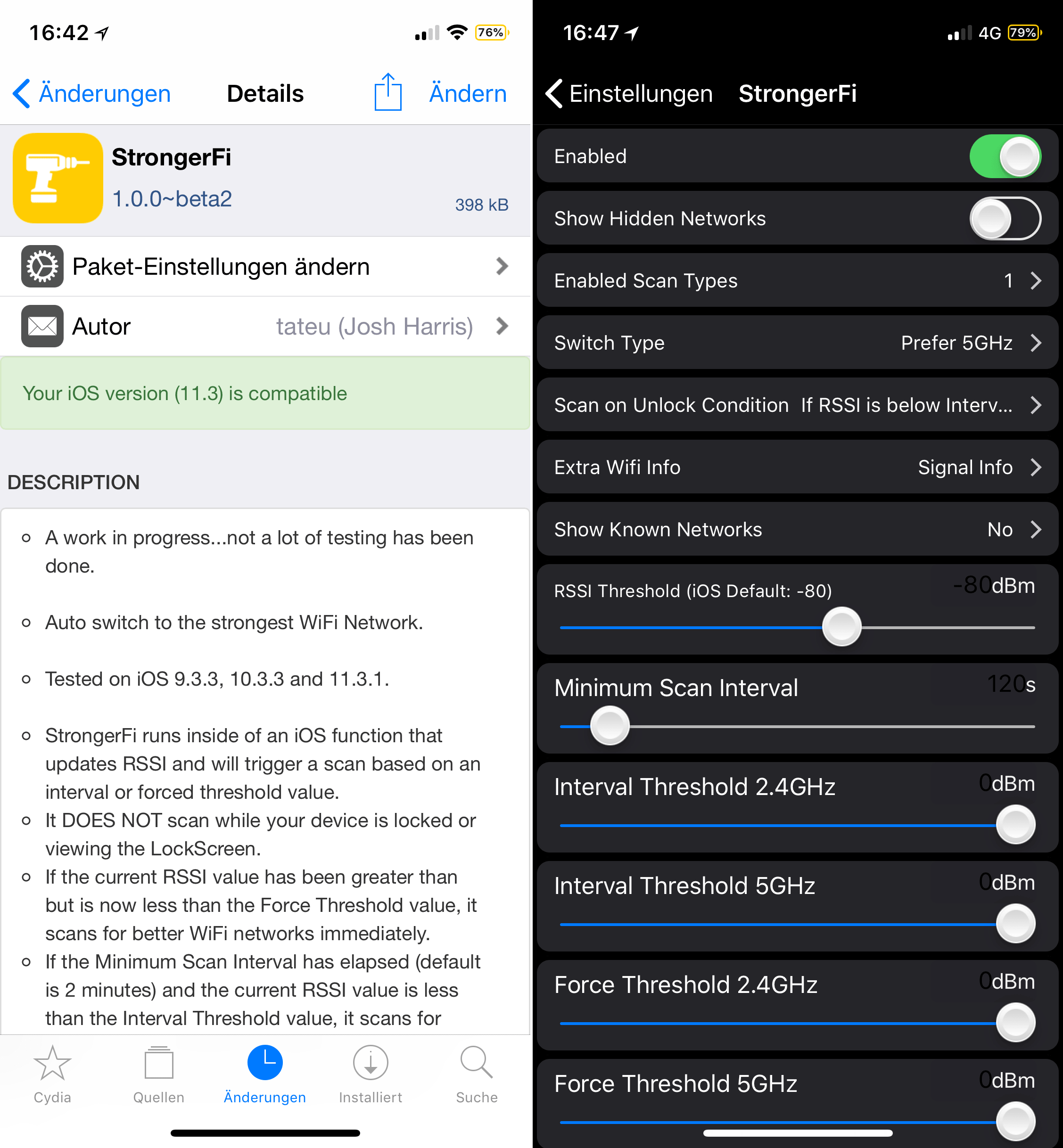 Automatically connect to the strongest Wi-Fi, StrongerFi, Cydia, Tweak, Sileo, iOS 11, help, configuration, options, explanation, Hack4Life, Fabian Geissler, Download, Free, Hack, tip, .deb