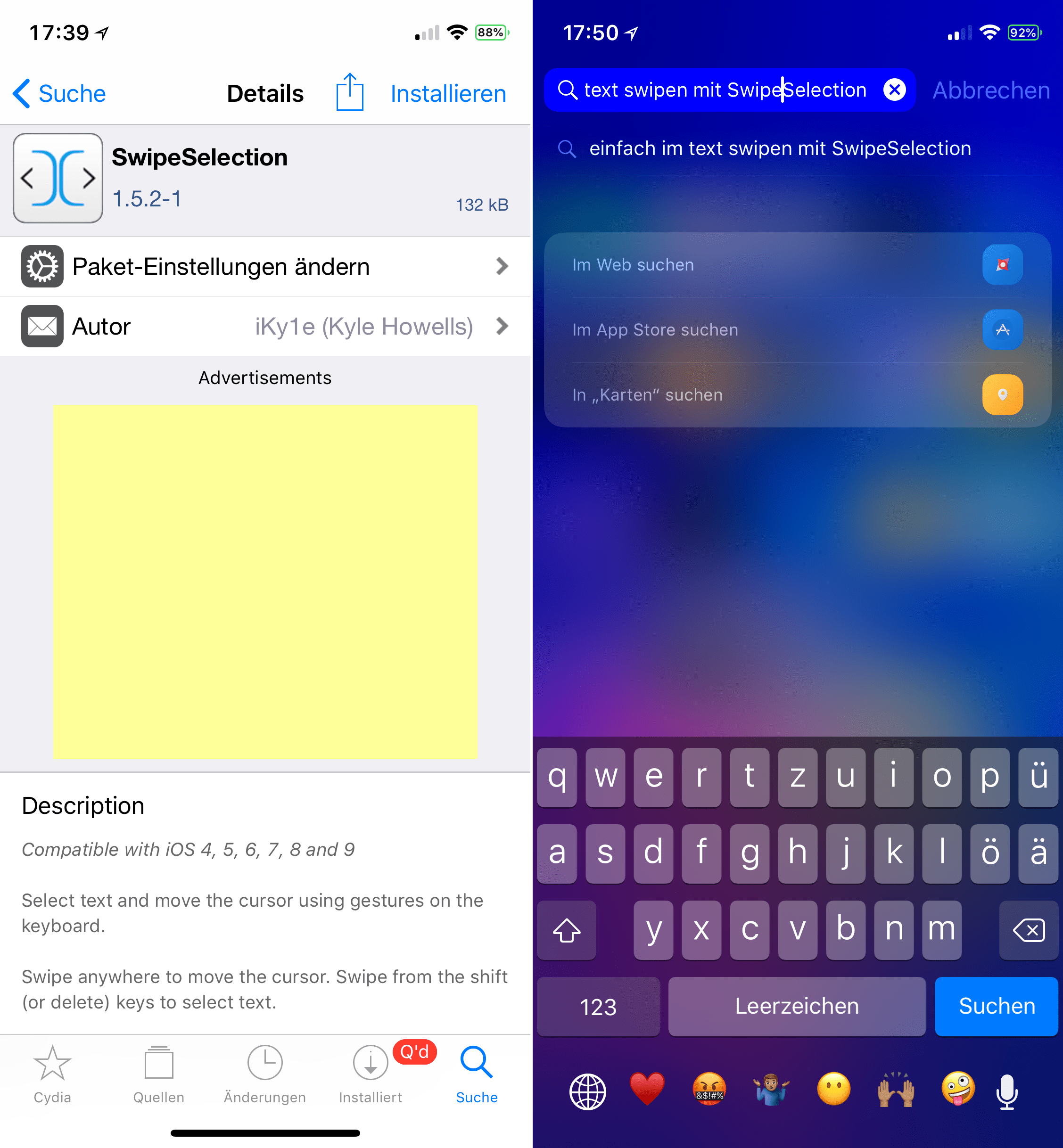 Move cursor on the keyboard, SwipeSelection, iOS 11, Top, Cydia, Tweak, Sileo, Help, configuration, Hack4Life, Fabian Geissler, Download, free, .deb, Repo
