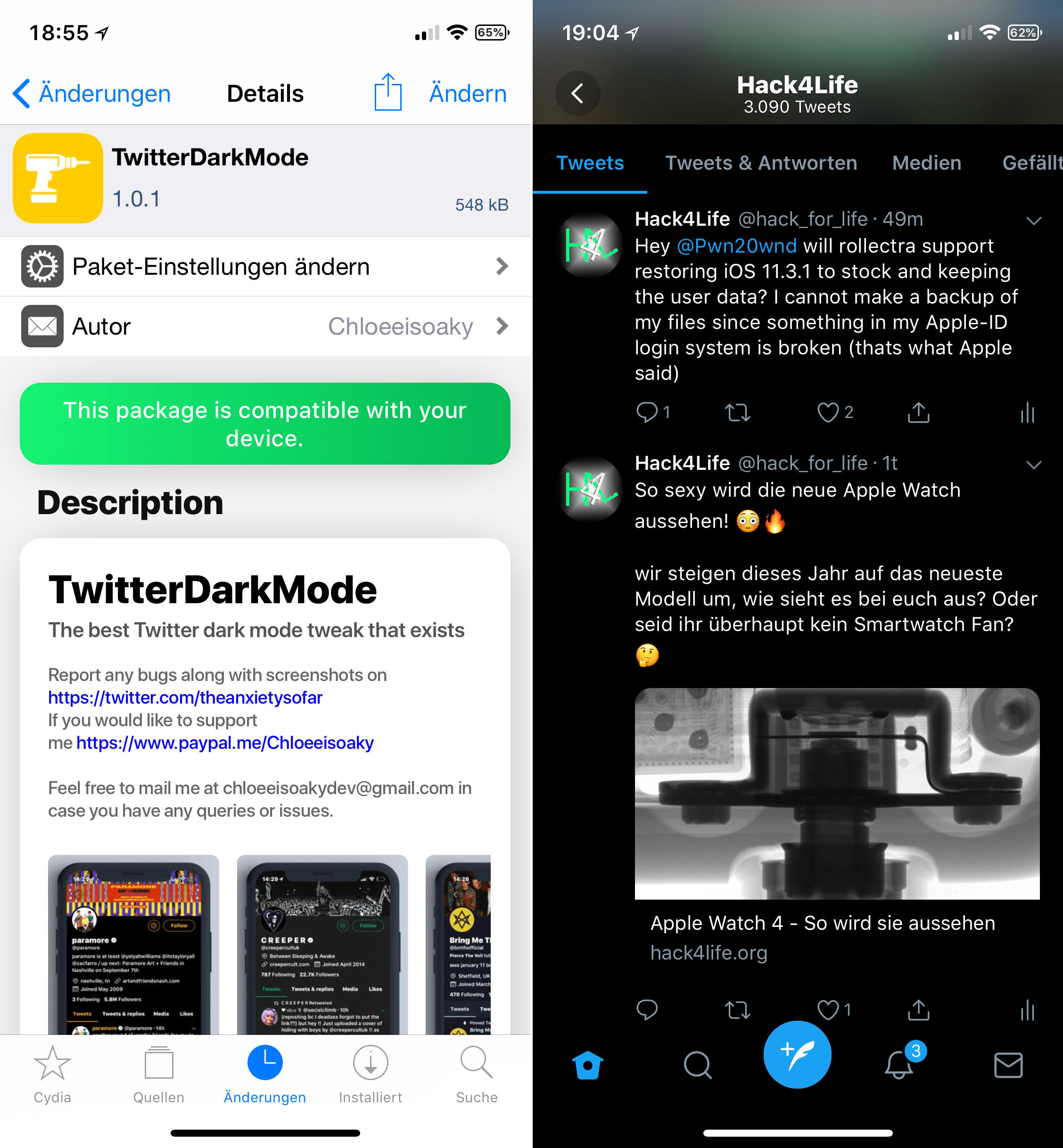 Twitter App in wirklichem Nachtmodus verwenden, Twitter, schwarz, Dark Mode, Hack4Life, TwitterDarkMode, Top, Cydia, Tweak, Sileo, Download, Repo, kostenlos, gratis, Hack4Life, Fabian Geissler, kompetent, seriös