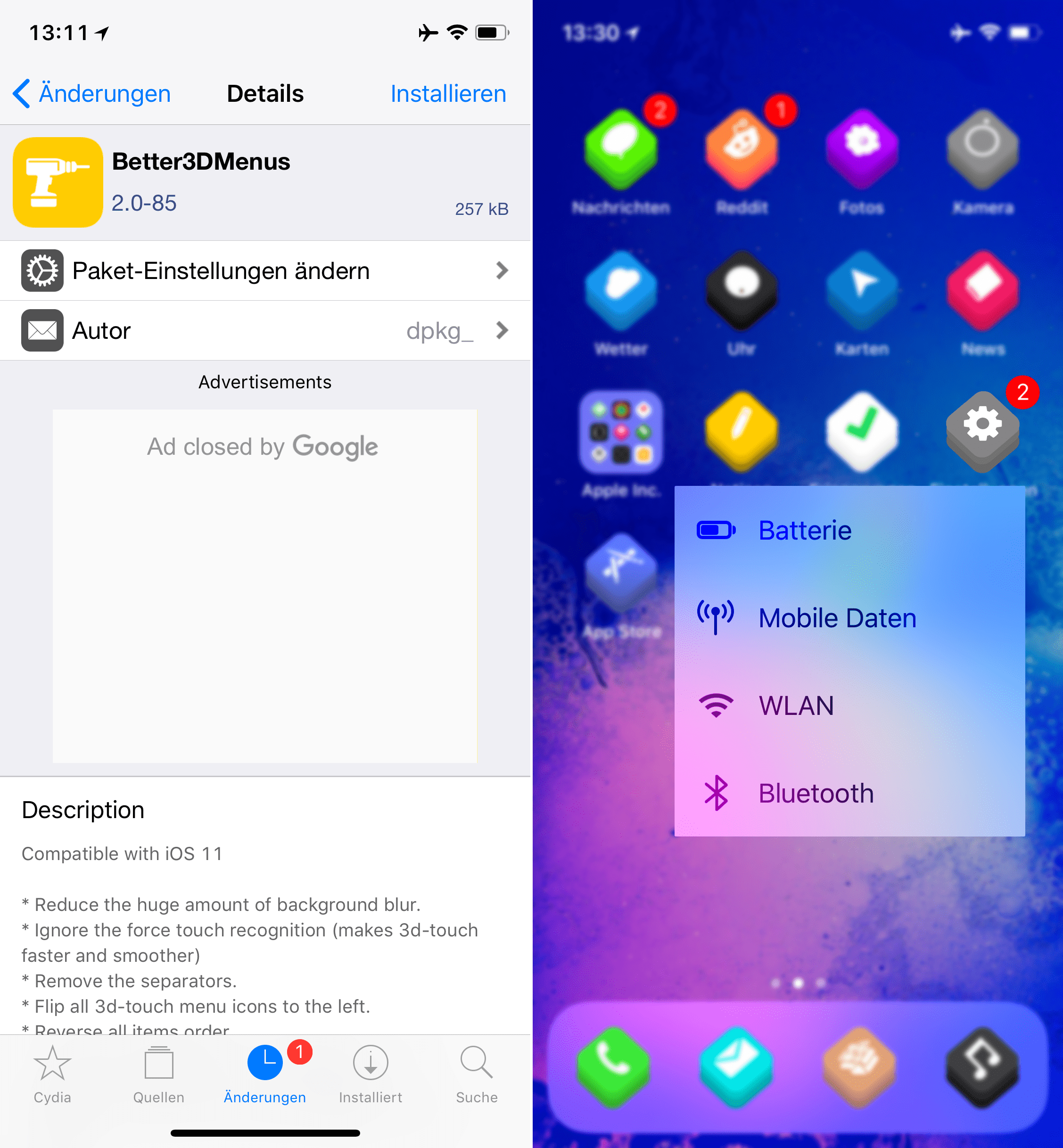 Customize 3DTouch menues, Better3DMenus, top, Cydia, Tweak, Sileo, Download, .deb, Hack4Life, Fabian Geissler