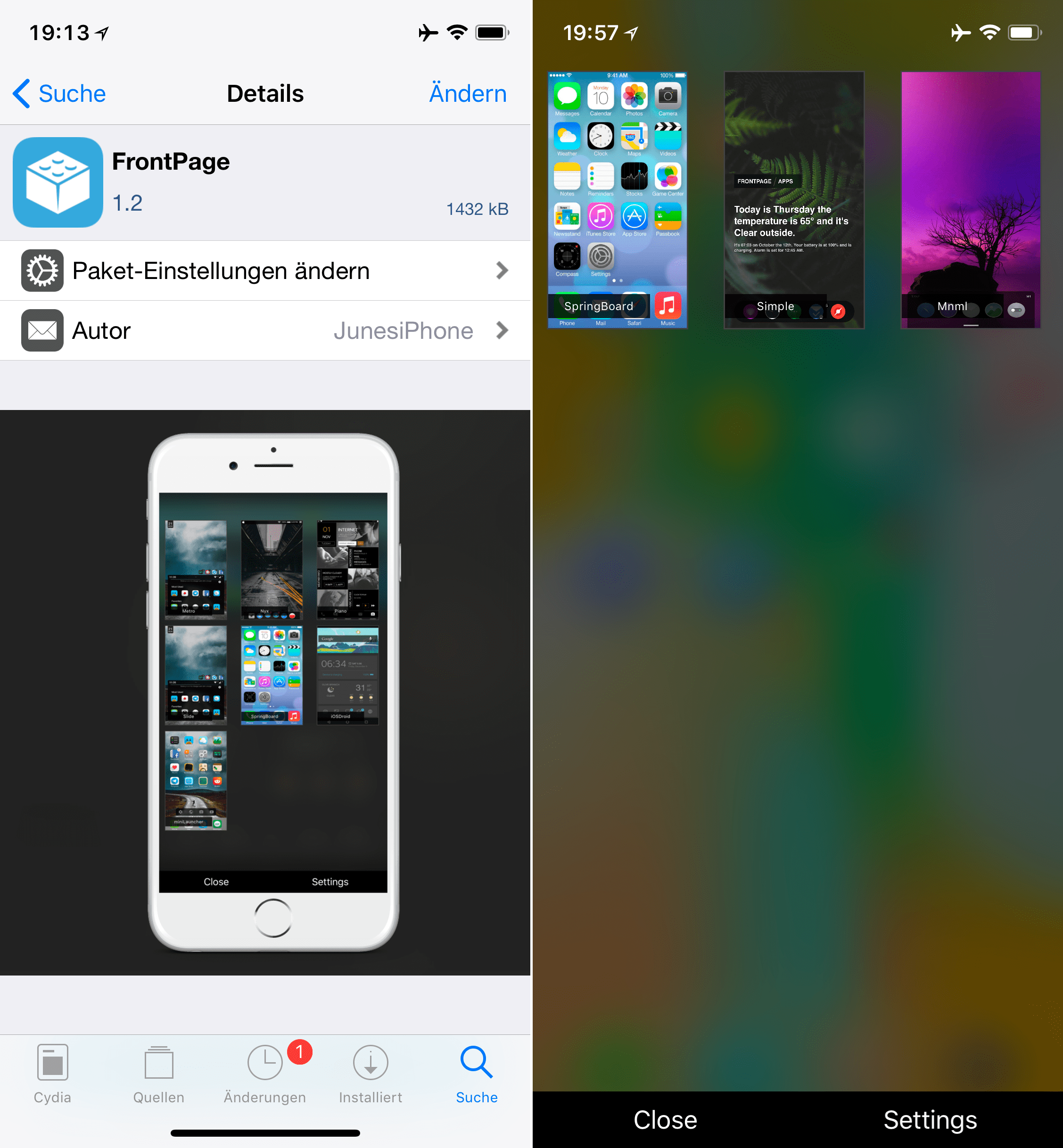 HTML themes for the homescreen, FrontPage, Top, Cydia, Tweak, Sileo, Download, Guide, Junesiphone, free, .deb, Hack4Life, Fabian Geissler