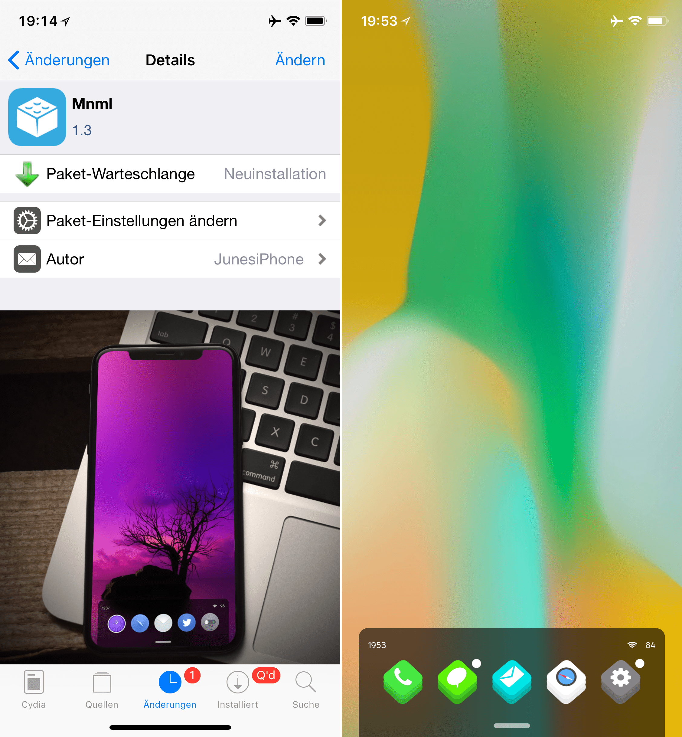 FrontPage Theme, mnml, Top, Cydia, Tweaks, Sileo, Theme, FrontPage, Download, .deb, free, Hack4Life, Anleitung, Fabian Geissler, Junesiphone, SuperSecret Repo