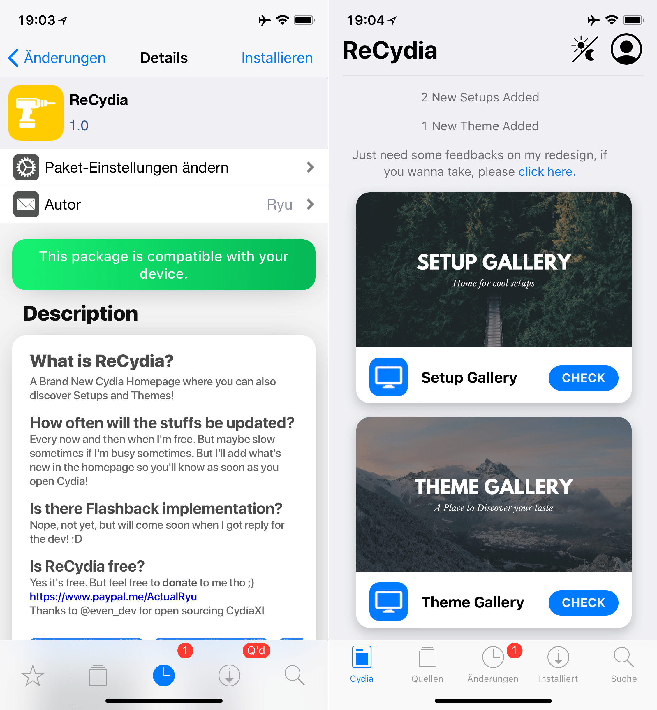 New front page for Cydia, ReCydia, Top, Cydia, Tweak, Sileo, Hack4Life, Fabian Geissler, iOS 11, Download, Hilfe, Support, Anleitung