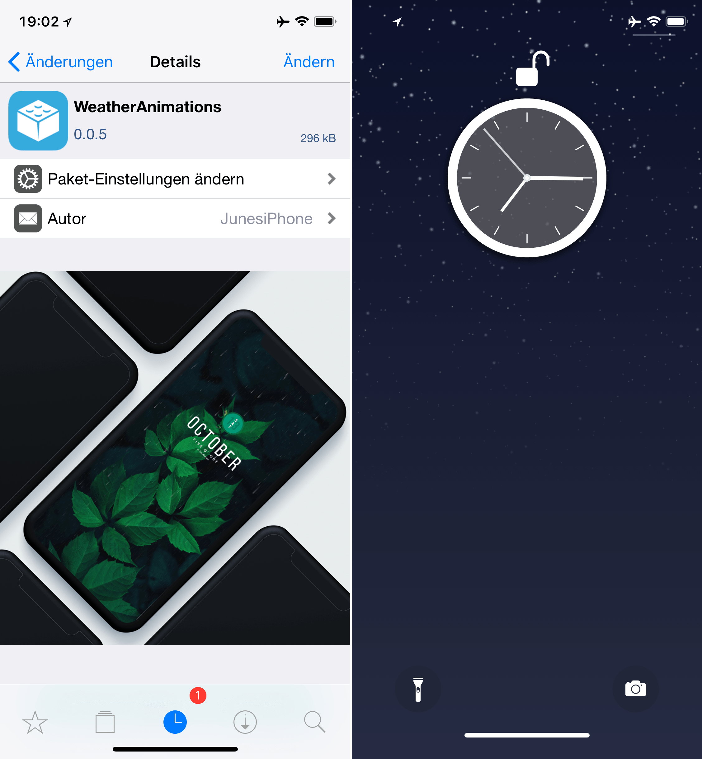 Display current weather as animation on the lockscreen, WeatherAnimations, Top, Cydia, Tweak, Sileo, Hack4Life, Fabian Geissler, Download, iOS 11, .deb, Tutorial, free