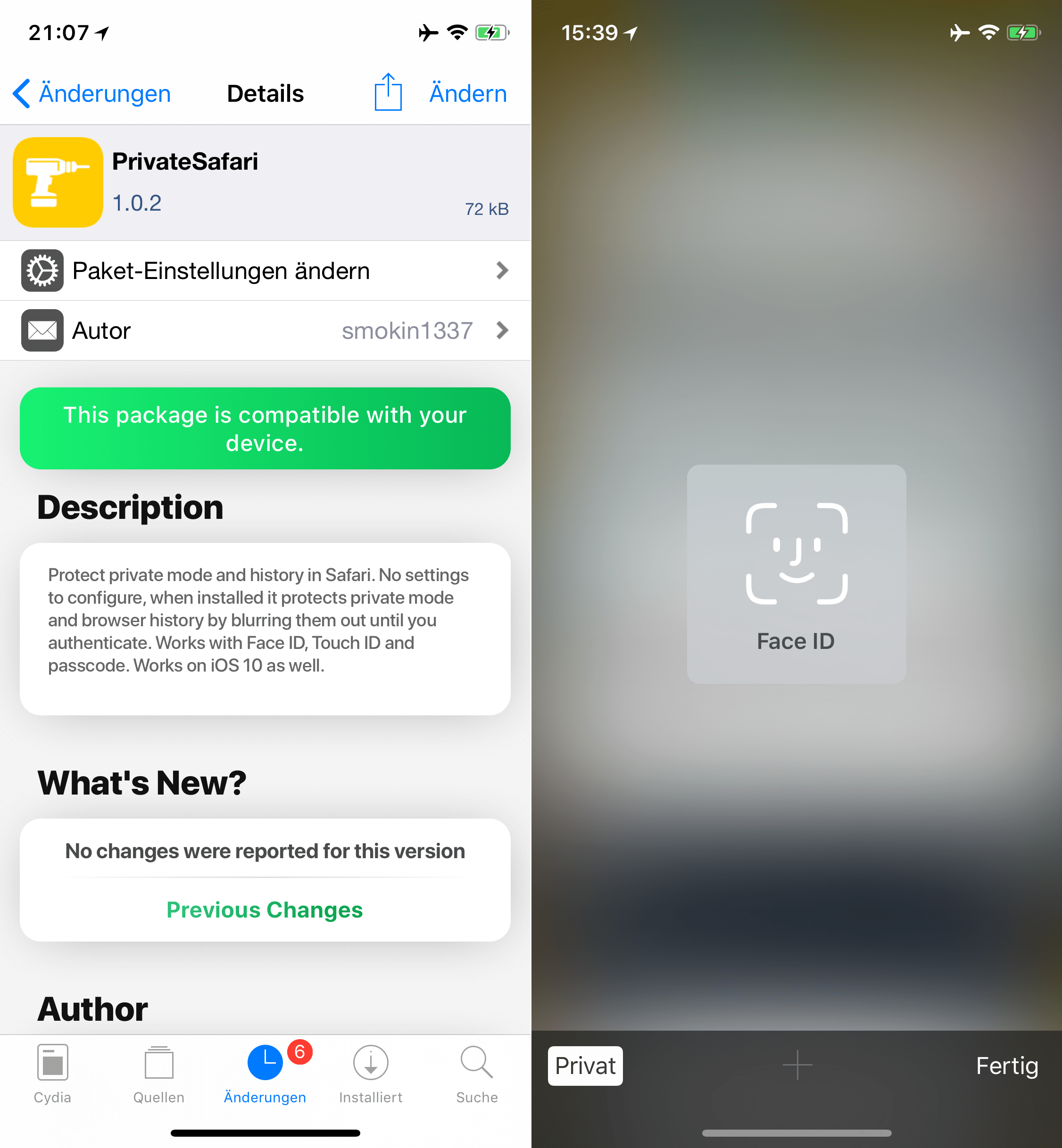 Den Privaten Modus in Safari mit FaceID/Passwort sichern, PrivateSafari, Top, Cydia, Tweak, Sileo, Download, kostenlos, gratis, .deb, Hack4Life, Fabian Geissler, Review