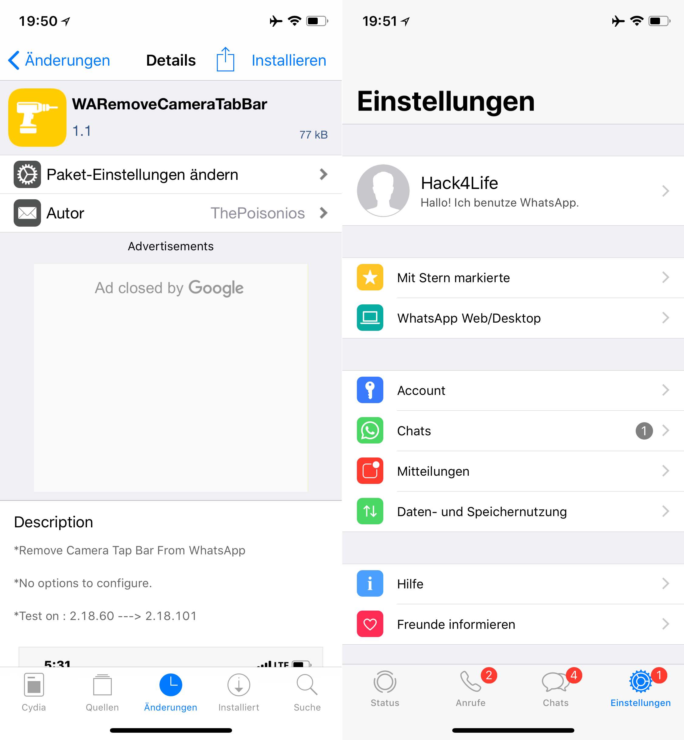 Kamerabutton aus WhatsApp entfernen, WARemoceCameraTabBar, Top, Cydia, Tweak, Sileo, sideload, .deb, kostenlos, free, gratis, download, Hack4Life, Fabian Geissler