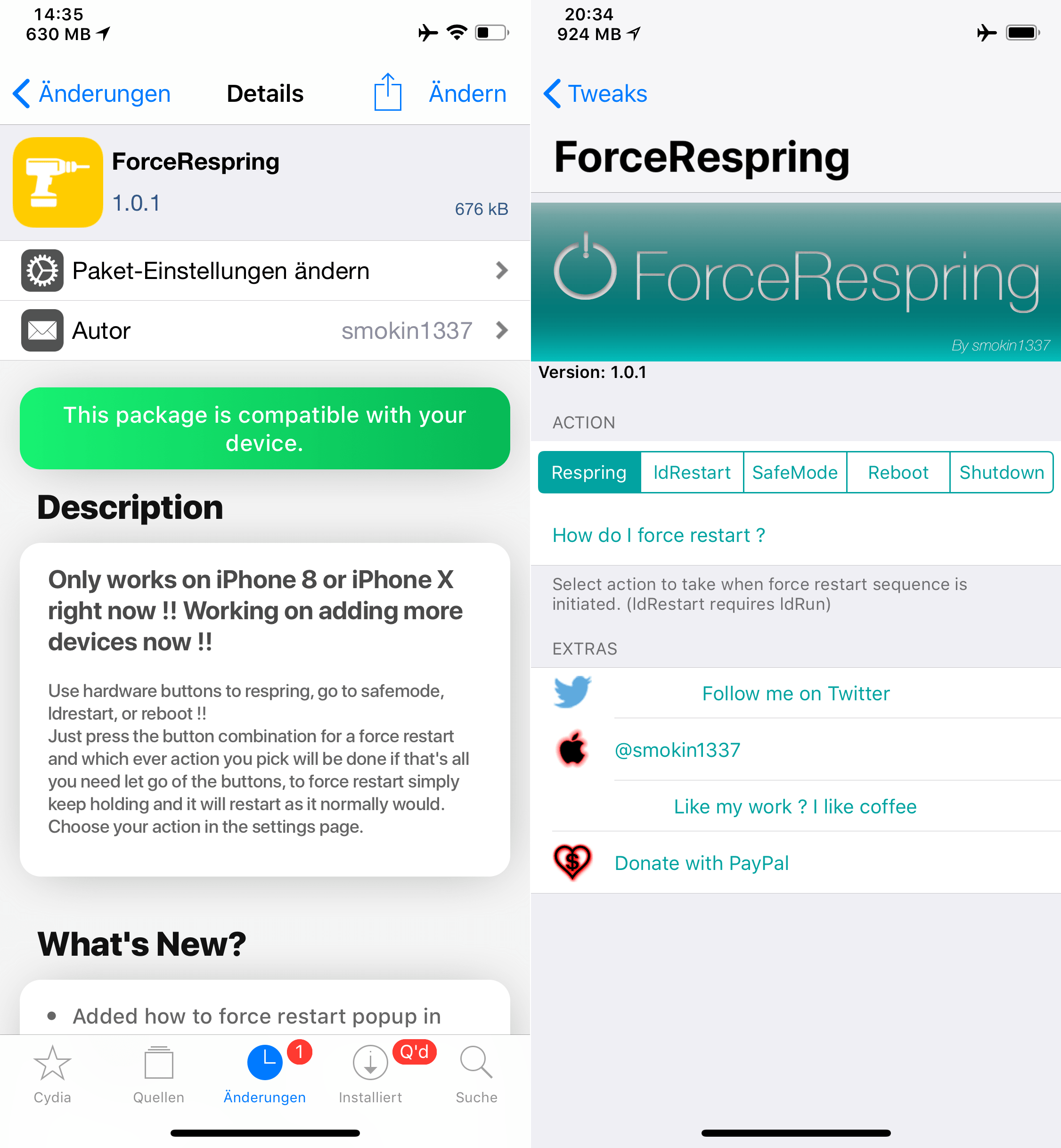 Respring or SafeMode with button combination, ForceRespring, Top, Cydia, Tweaks, Sileo, iOS 11, Tutorial, change to SafeMode, Hack4Life, Fabian Geissler