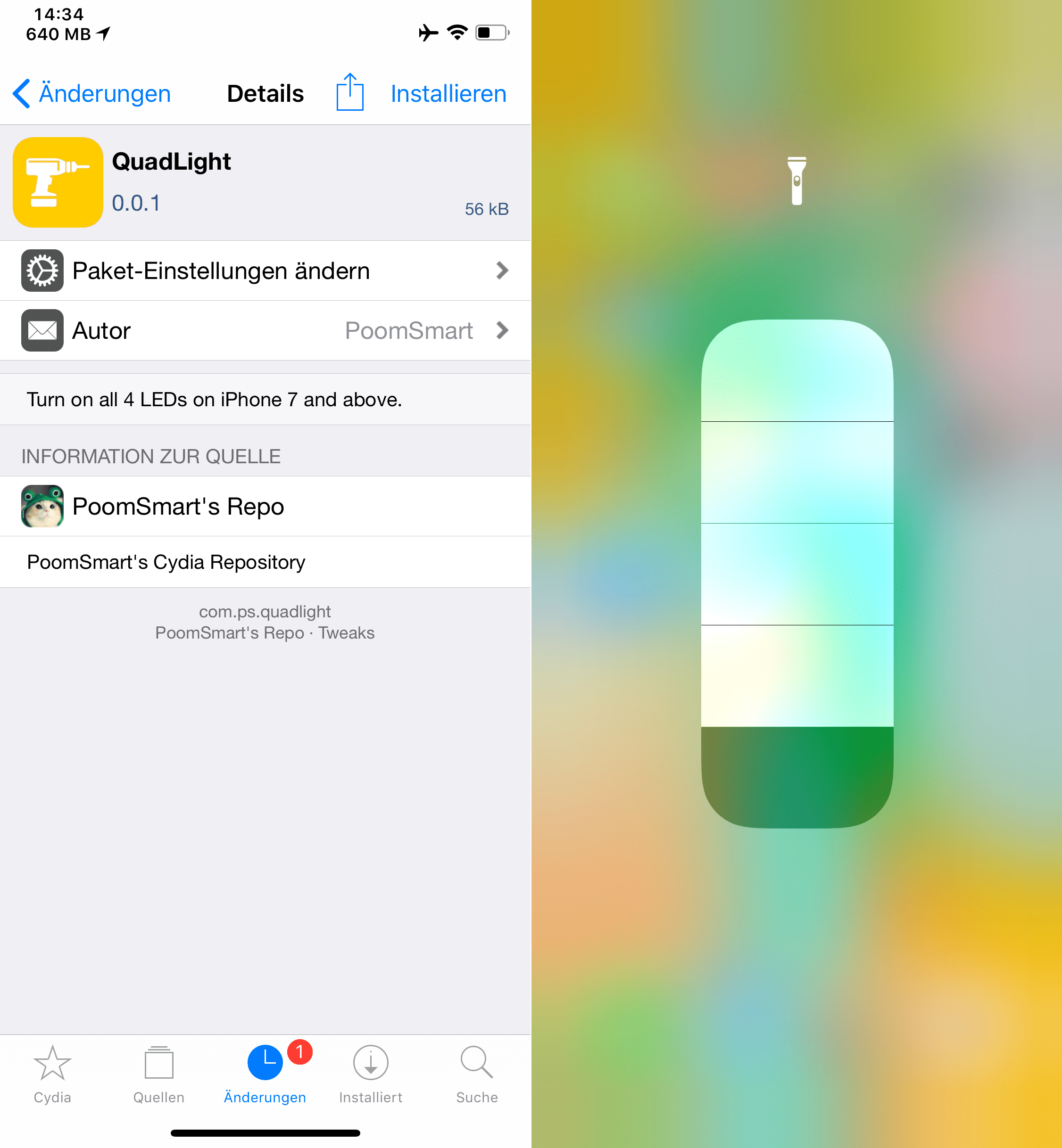 Turn on all four LEDs on the iPhone, QuadLight, Top, Cydia Tweaks, Sileo, iOS 11, iOS 12, make torch on iPhone brighter, tutorial, how-to, free, hack, Hack4Life, Fabian Geissler