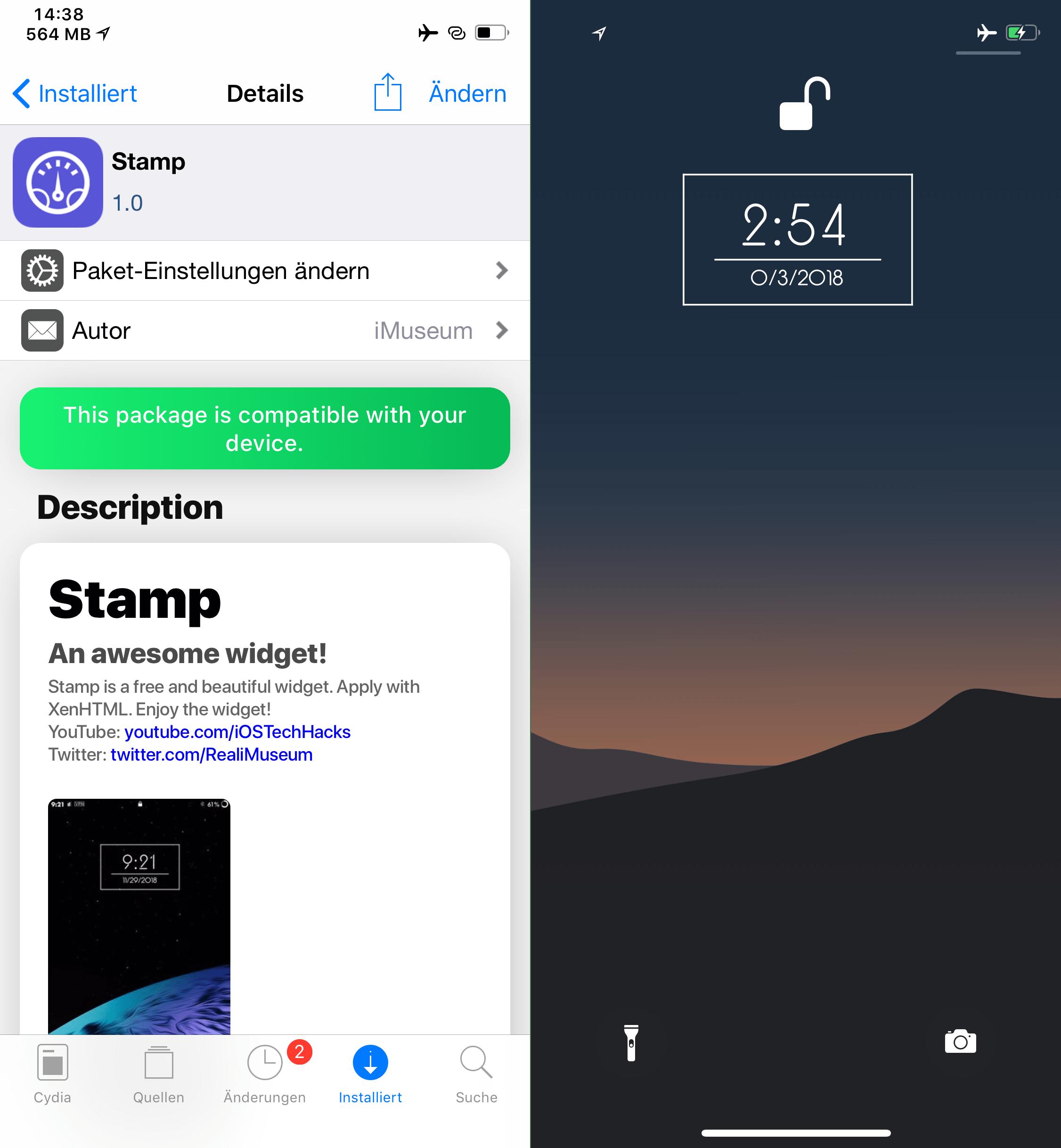 Widget for the lockscreen, Stamp, XenHTML Widget, Top, Cydia, Tweaks, Sileo, Hack4Life, Fabian Geissler, Review, .deb, free