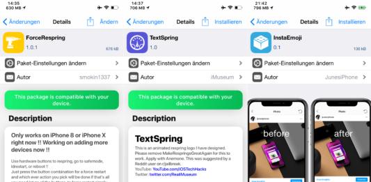 AppInFolderStayTheSame, ForceRespring, InstaEmoji, QuadLight, TextSpring, Hack4Life, Fabian Geissler, Top Cydia Tweaks, Sileo, iOS 11, Issue 24