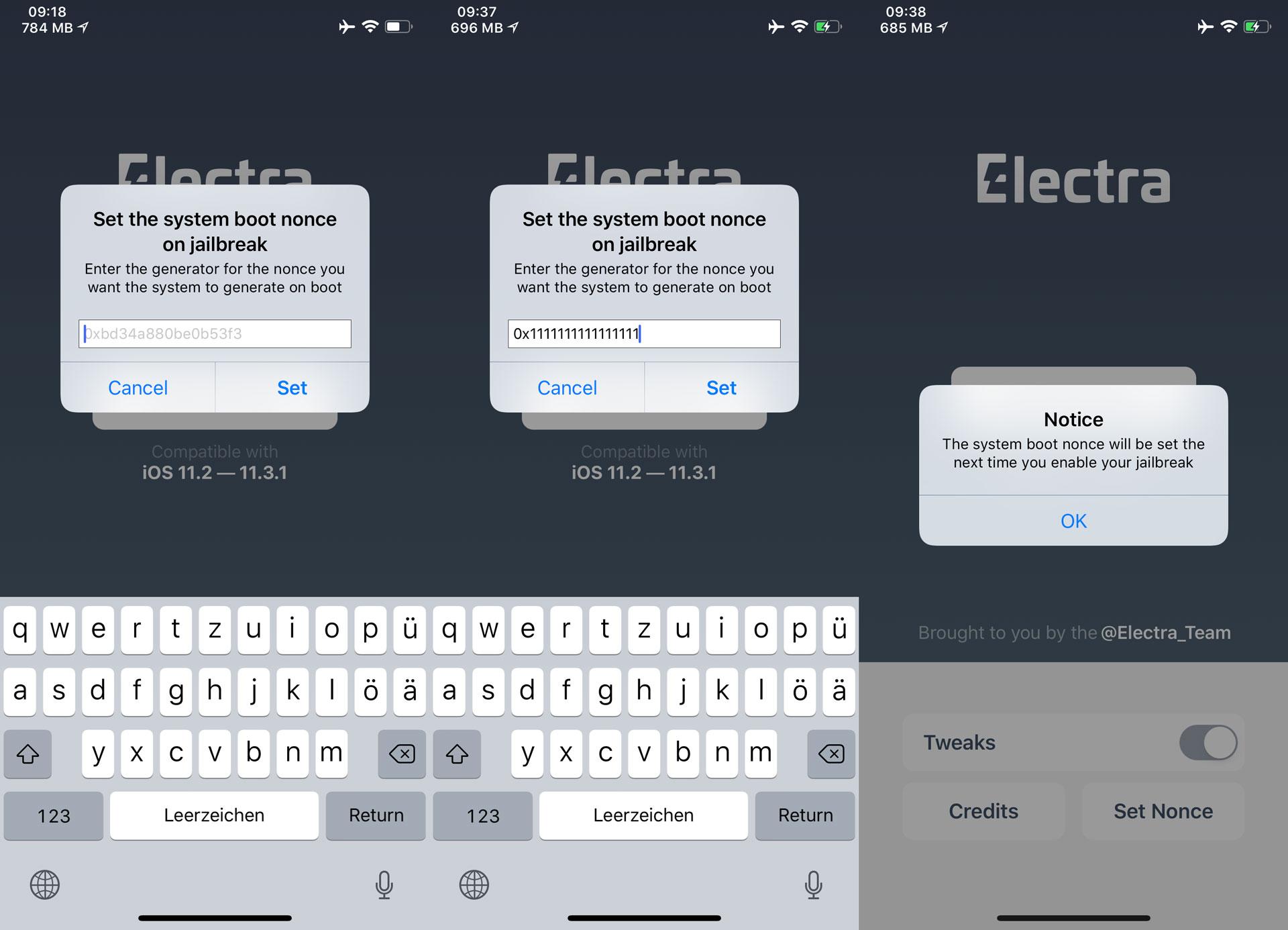 boot nonce unter iOS 11.x mit electra Jailbreak setzen, Hack4Life, Fabian Geissler, FutureRestore, TSSSaver, Anleitung, Tutorial, iOS 12, iOS 11, unc0ver, Electra