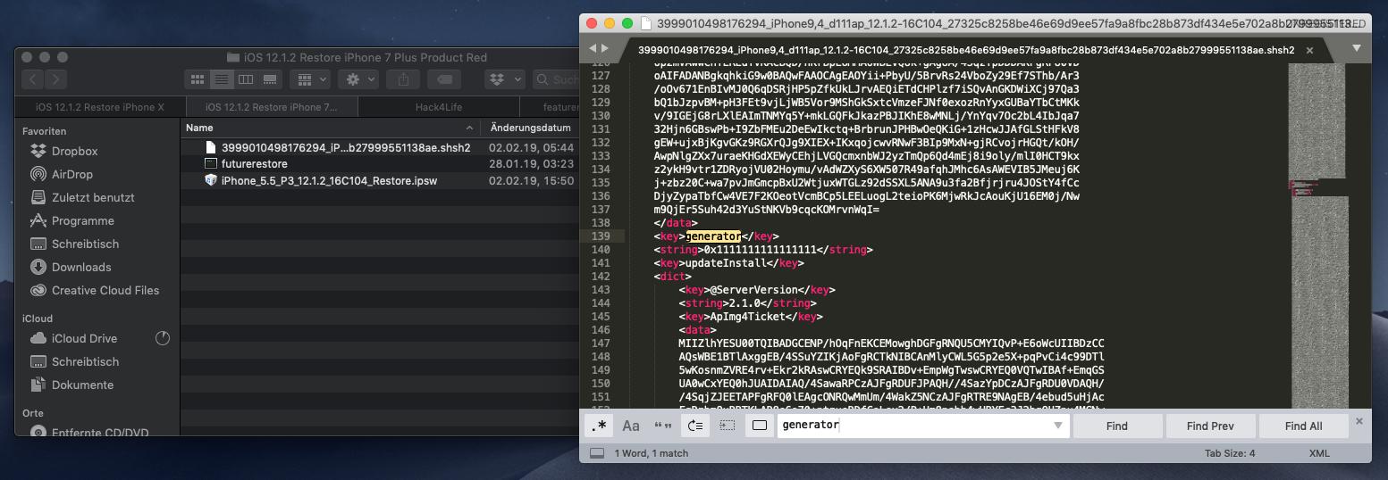 generator für boot nonce in gespeichertem SHSH2 Blob finden, Hack4Life, Fabian Geissler, FutureRestore, TSSSaver, Anleitung, Tutorial, iOS 12, iOS 11, unc0ver, Electra
