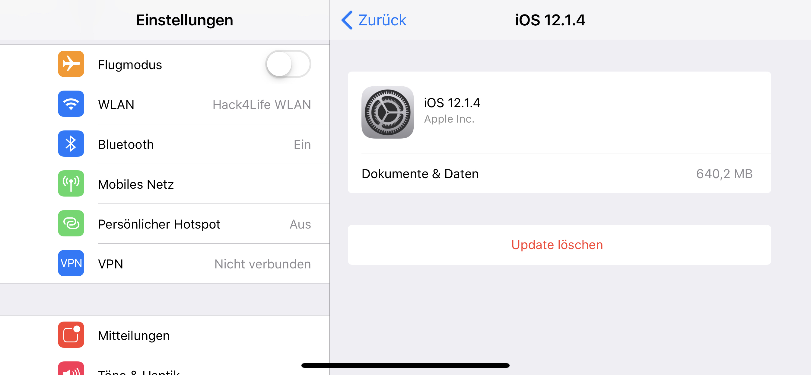 Delete iOS 12 OTA Update in the settings, Hack4Life, Fabian Geissler