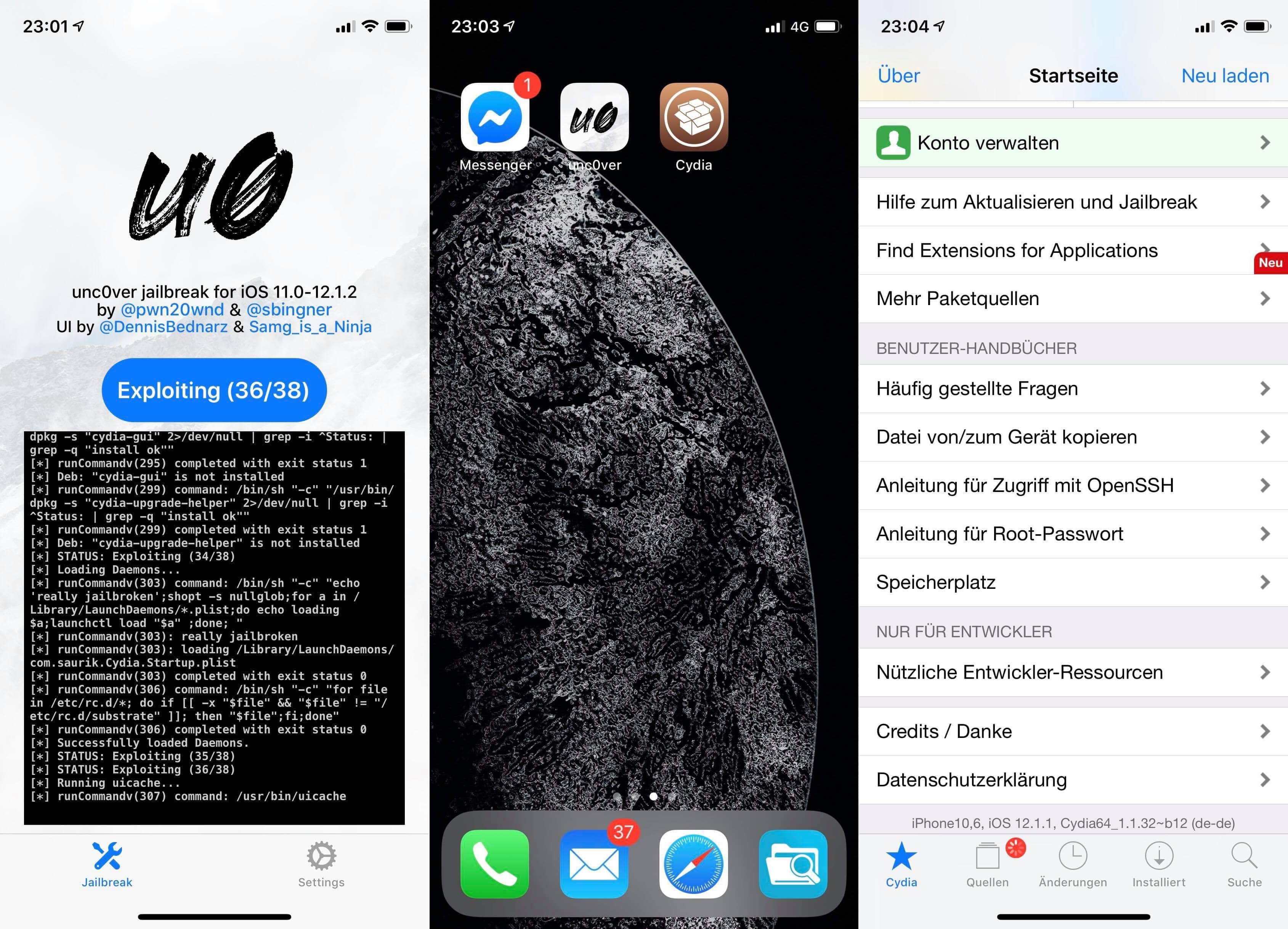 iOS 12 Jailbreak with unc0ver v3.0.0 - Tutorial, Hack4Life, Fabian Geissler, step-by-step, iPhone XS, iPhone XS Max, A12, Status, pwn20wnd, Cydia, Tutorial, Help, Support