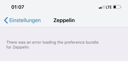 There was an error loading the preference bundle, Chimera Jailbreak, iOS 12, Sileo, Cydia, Hack4Life, Fabian Geissler