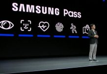 FaceID Logo bei Samsung Pressekonferenz in Las Vegas auf der CES20 / Bild: iMore, Hack4Life, Fabian Geissler, Samsung Pass, Samsung klaut FaceID Logo, FaceID von Apple geklaut, Verklagt Apple Samsung