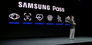 FaceID Logo bei Samsung Pressekonferenz in Las Vegas auf der CES20 / Bild: iMore, Hack4Life, Fabian Geissler, Samsung Pass, Samsung klaut FaceID Logo, FaceID von Apple geklaut, Verklagt Apple Samsung