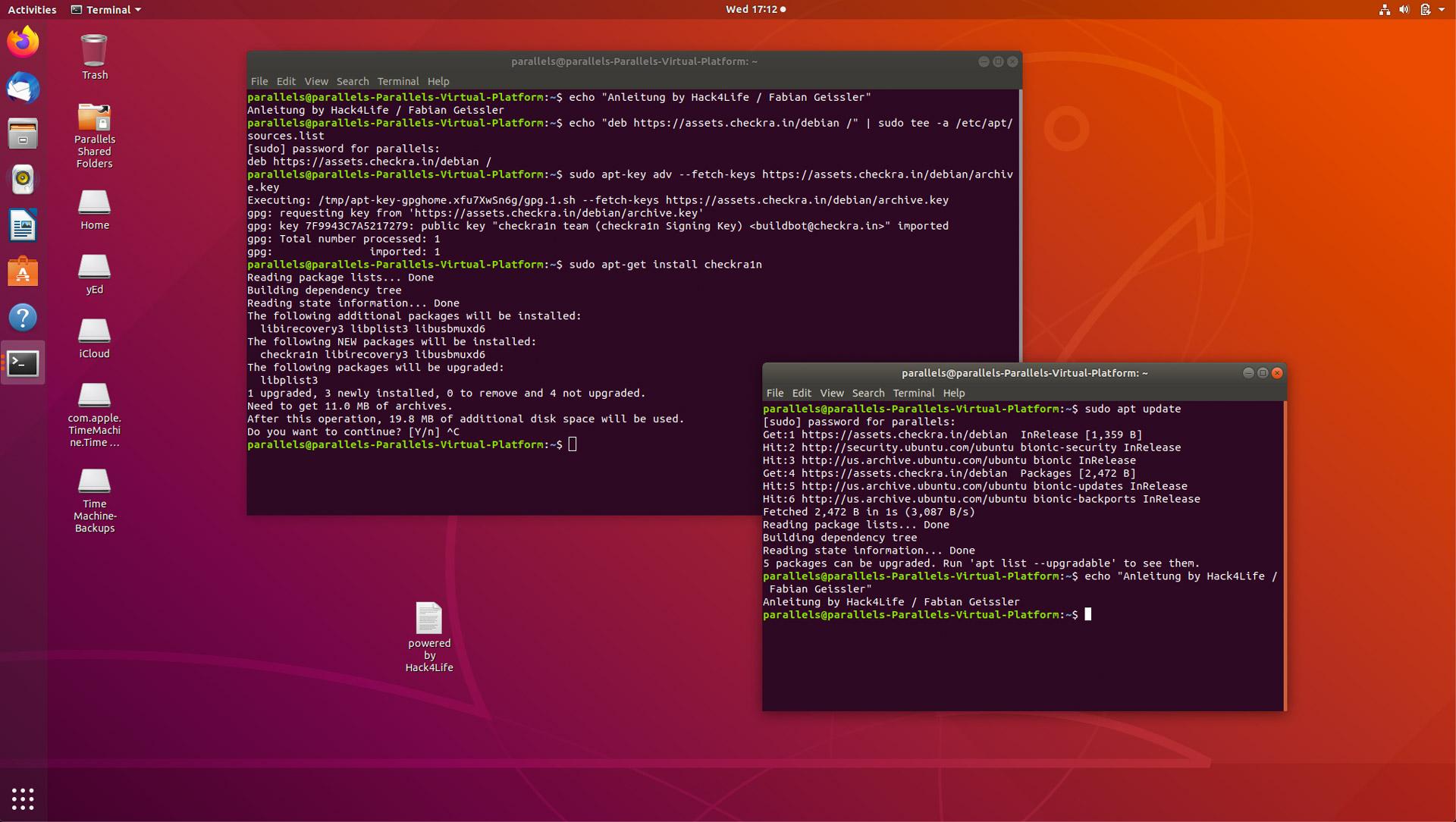 Erfolgreiche Checkra1n Installation unter Ubuntu, Hack4Life, Fabian Geissler, Checkra1n Installation mit GUI, Grafische Anwendung für Checkra1n unter Linux, Tipp, Tutorial