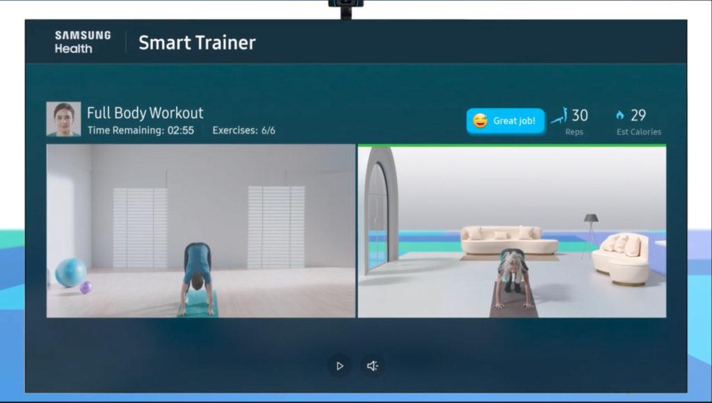 Samsung Health Smart Trainer auf dem Samsung Micro LED Fernseher, Hack4Life, Fabian Geissler, CES 2021, Samsung